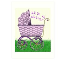 Baby Pram - It's a Girl! Art Print