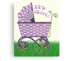 Baby Pram - It's a Girl! Canvas Print