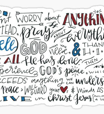 Philippians 4:6-7 NLT : Design 3 Sticker