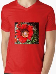 Red daisy Mens V-Neck T-Shirt