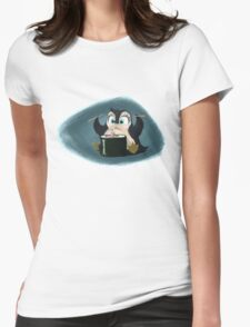 Penguin with sushi cake Womens Fitted T-Shirt