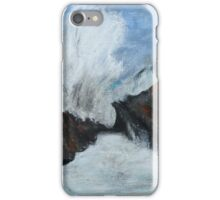 "Oregon Coast, West Coast Waves America Acrylic Painting On 11"" x 14"" Canvas Board iPhone Case/Skin"