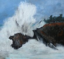 "Oregon Coast, West Coast Waves America Acrylic Painting On 11"" x 14"" Canvas Board by JamesPeart"
