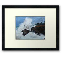 "Oregon Coast, West Coast Waves America Acrylic Painting On 11"" x 14"" Canvas Board Framed Print"