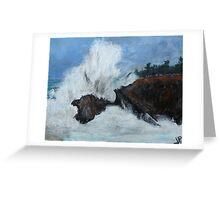 "Oregon Coast, West Coast Waves America Acrylic Painting On 11"" x 14"" Canvas Board Greeting Card"