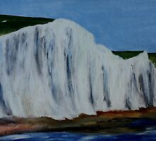 English Countryside White Chalk Cliffs South Coast Contemporary Acrylic Paintng by JamesPeart