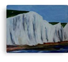 English Countryside White Chalk Cliffs South Coast Contemporary Acrylic Paintng Canvas Print