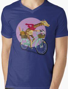 Giraffe Bicycle Mens V-Neck T-Shirt