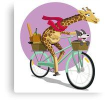 Giraffe Bicycle Canvas Print