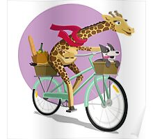 Giraffe Bicycle Poster
