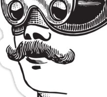 Anitique Vintage Gentleman with Goggles and Moustache Sticker