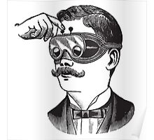 Anitique Vintage Gentleman with Goggles and Moustache Poster