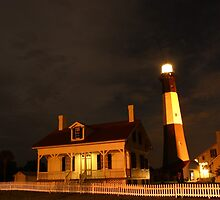 Tybee Island Lighthouse at Night by Kent Nickell
