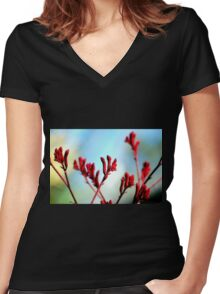 Red bloom Women's Fitted V-Neck T-Shirt