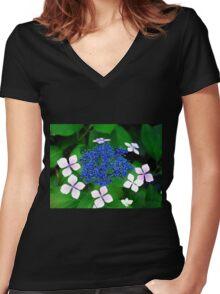 Blue blossom Women's Fitted V-Neck T-Shirt