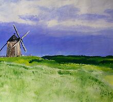 French Countryside Windmill Contemporary Acrylic Painting On Paper by JamesPeart