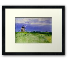 French Countryside Windmill Contemporary Acrylic Painting On Paper Framed Print