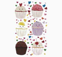 Cupcake Lover Pattern, Cupcake Hearts One Piece - Long Sleeve
