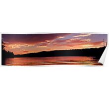 Sunset On The Lake Golden Waves Poster