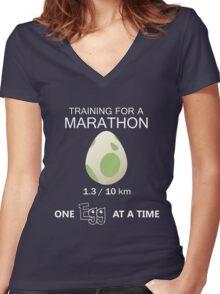 Training for a Marathon! (Pokemon Go!) Women's Fitted V-Neck T-Shirt
