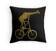 Giraffe on Bicycle Throw Pillow