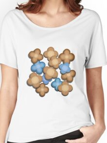 Brown and Blue Flowers Women's Relaxed Fit T-Shirt