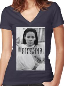 RIHANNA Women's Fitted V-Neck T-Shirt