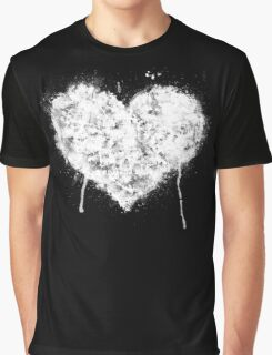 Grunge Heart - White Graphic T-Shirt