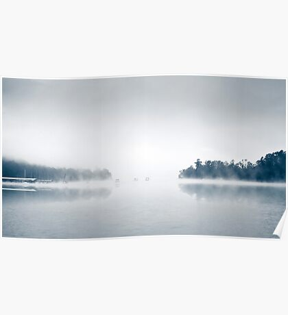 Eerie Fog On The Lake Surreal Poster