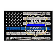Thin Blue Line Flag POLICE COPS OFFICER All LIVES MATTER  Photographic Print