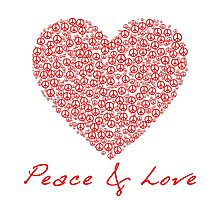 Peace & Love - Peace Sign Heart .  Photographic Print