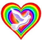 Rainbow Heart & Dove - Peace & Love  by 321Outright