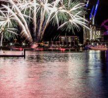 Fireworks at Melbourne Docklands featuring the Melbourne Star. Sticker