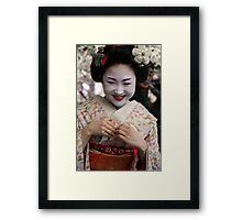 Smiling Maiko Katsuru 勝瑠 Framed Print
