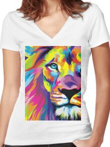 Colorful Lion Women's Fitted V-Neck T-Shirt