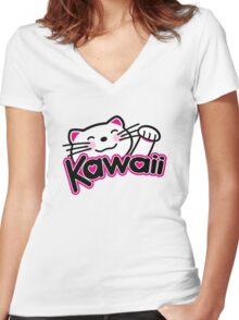 Kawaii cute Kitten Women's Fitted V-Neck T-Shirt