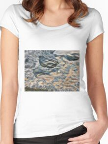 Eroded rocks on beach with puddle Women's Fitted Scoop T-Shirt