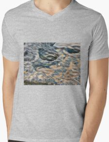 Eroded rocks on beach with puddle Mens V-Neck T-Shirt
