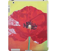 Single Stem Poppy On Red Green And Orange Background iPad Case/Skin