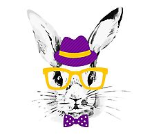 Hipster rabbit Photographic Print