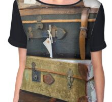 Vintage Style Luggage Chiffon Top