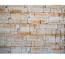 Detail of a decorative wall of jagged limestone tiles Photographic Print