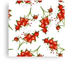 red berries seamless pattern Canvas Print