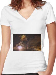 Fireworks at the Fiesta del Carmen 2 Women's Fitted V-Neck T-Shirt