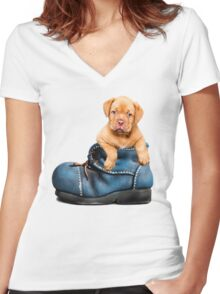 Cute Puppy In Boot Women's Fitted V-Neck T-Shirt