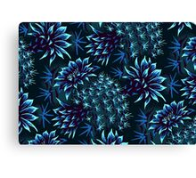 Cactus Floral - Blue Canvas Print