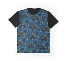 Cactus Floral - Blue/Black/Green Graphic T-Shirt