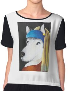 Husky dog portrait Chiffon Top