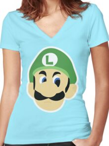 Luigi's Death Stare Women's Fitted V-Neck T-Shirt