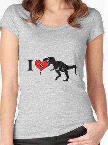Dinosaur eats heart Women's Fitted Scoop T-Shirt